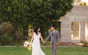 bride and groom walking in Kaledon BC