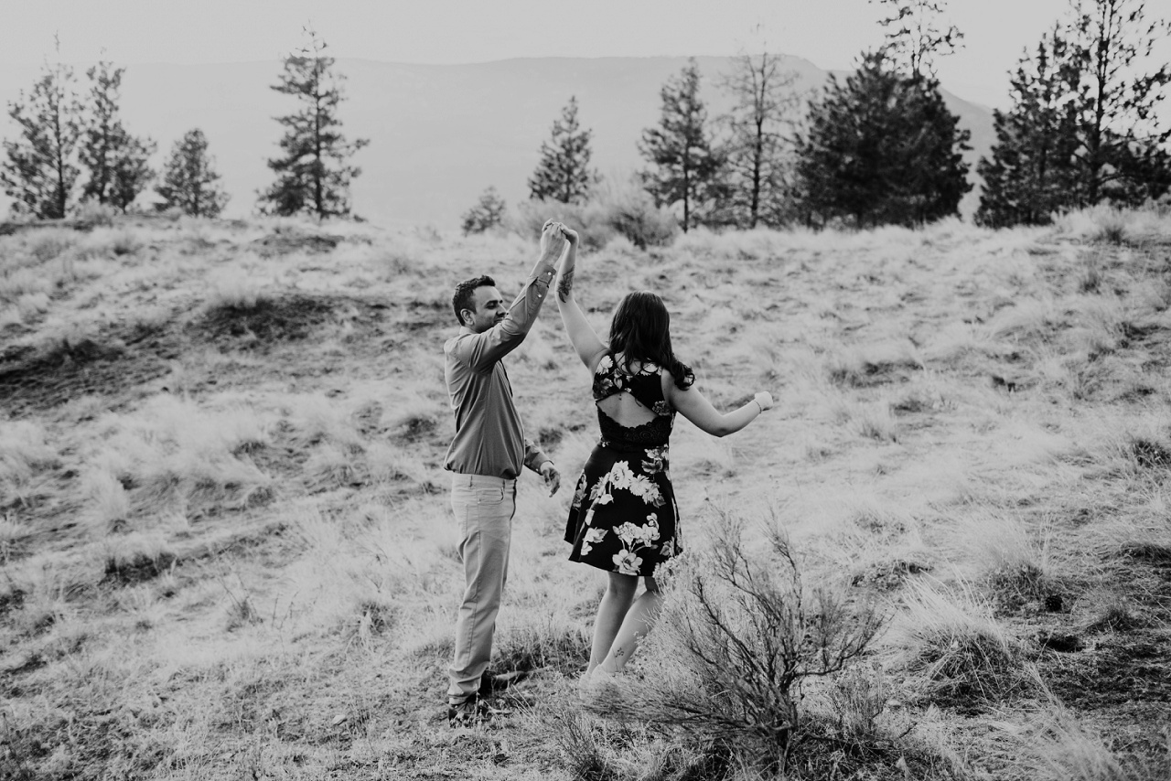 Bride and groom dancing on Knox Mountain