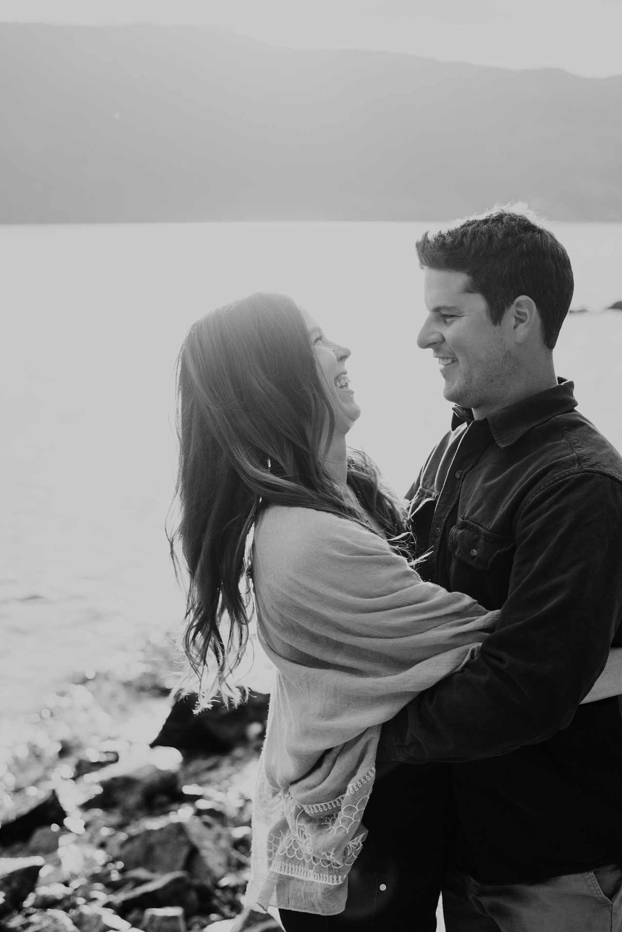 engagement photography, couple smiling