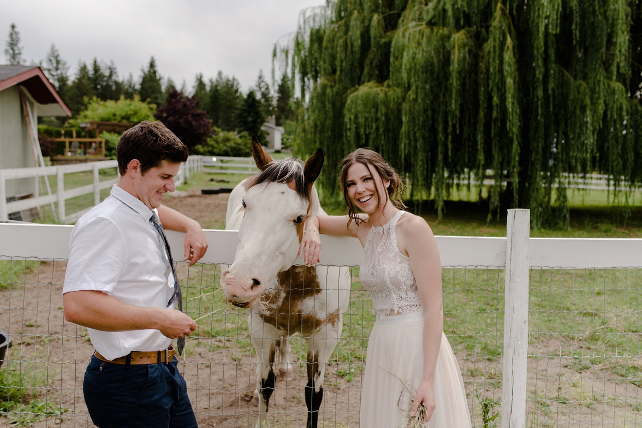 Lake Country Farm Wedding, Bride and groom with horse