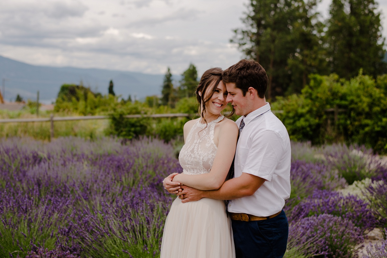 Bride and groom photos in lavender field, Lake Country wedding
