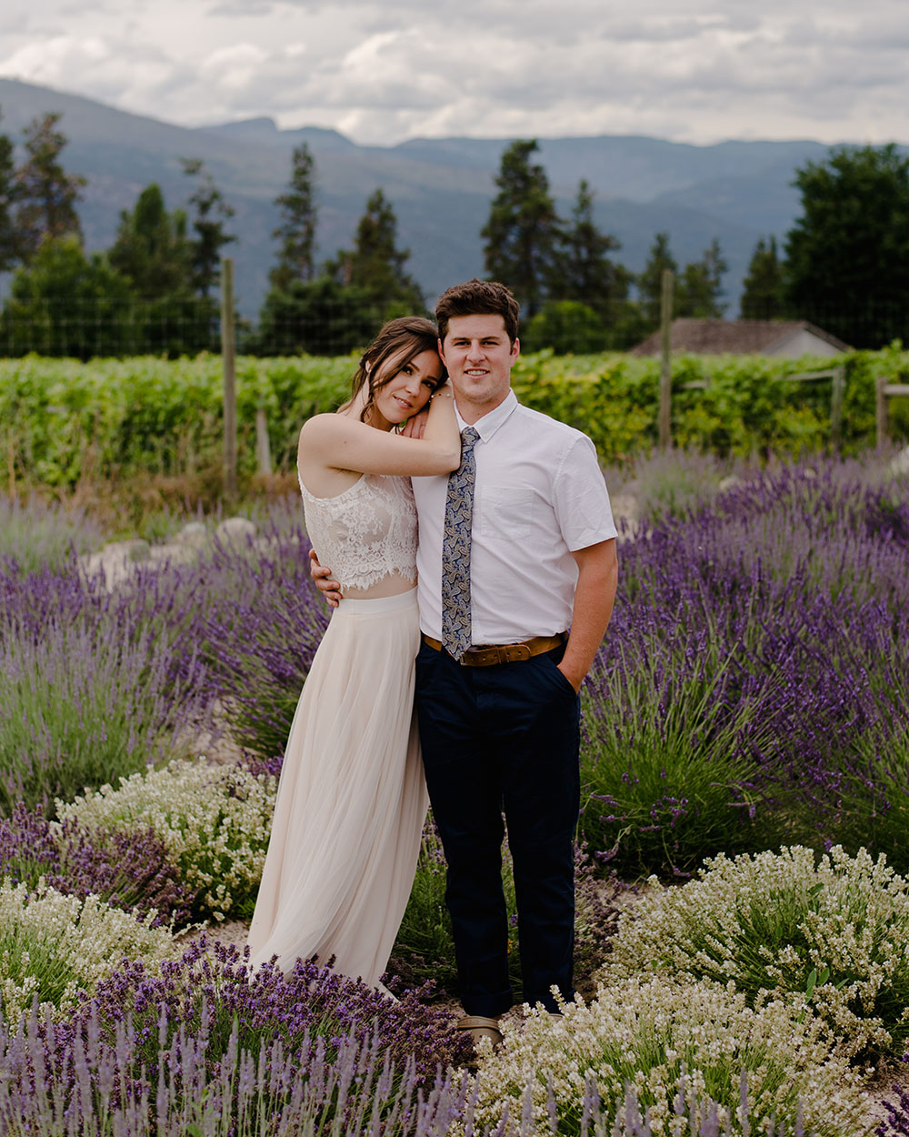 bride and groom in a field of lavender