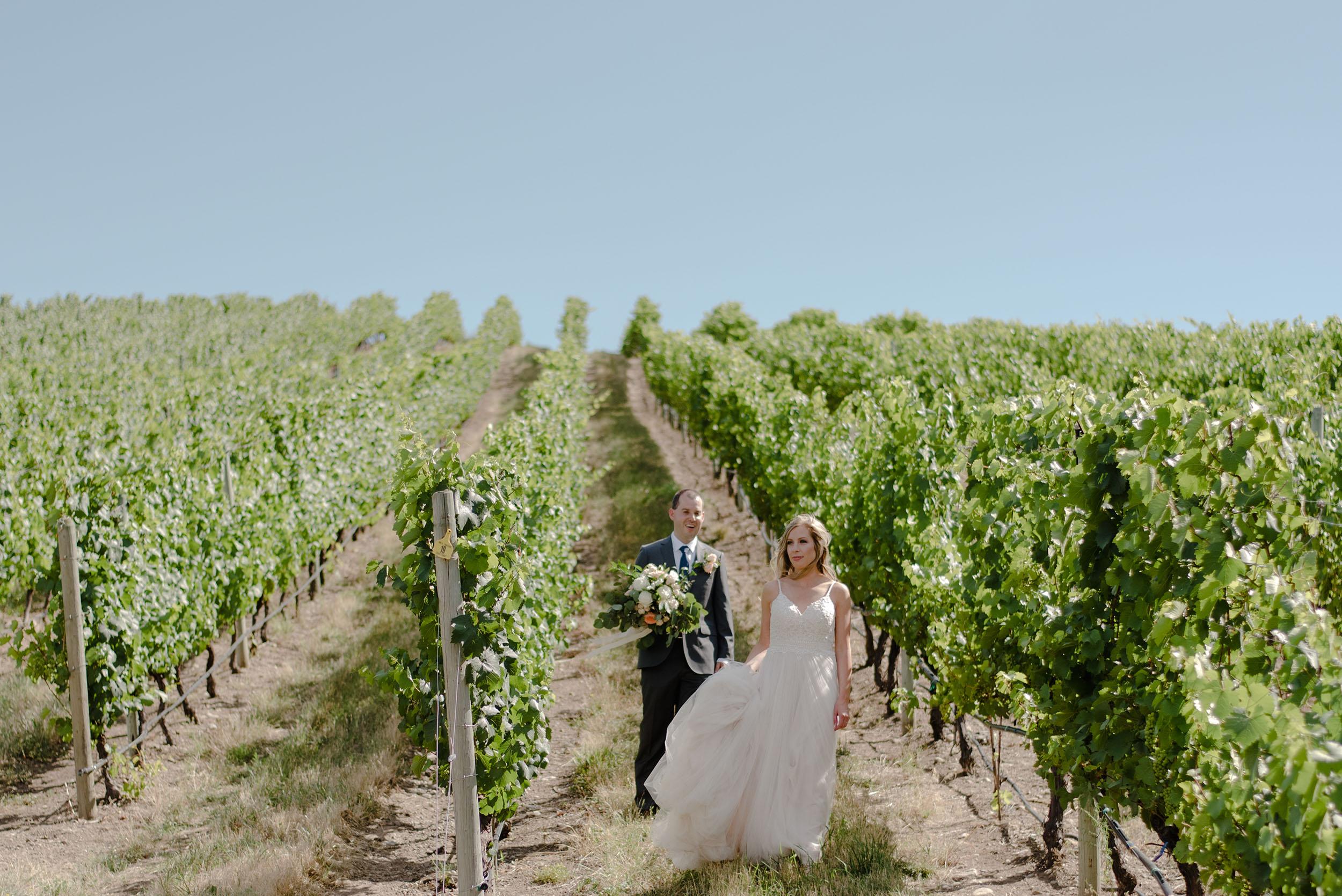 Bride & groom getting married at winery in Kelowna